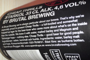 Brutal Brewing Cheap Thrills - burktexten